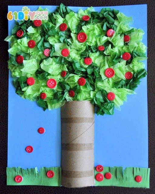 儿童手工制作苹果树搓纸贴画