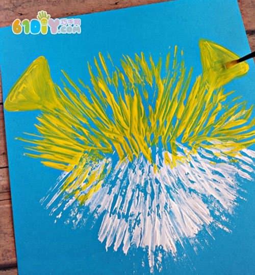 儿童创意叉子画画 可爱河豚鱼