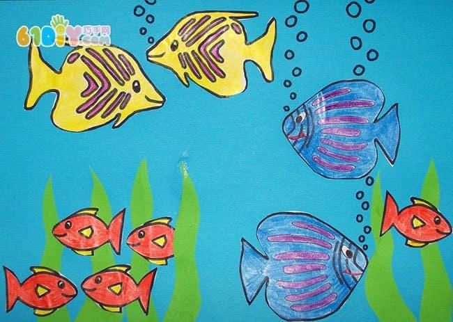 儿童手工制作海底世界贴画