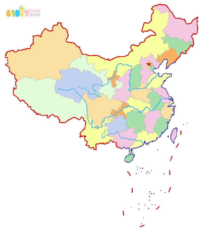 国庆节儿童diy 中国地图模板