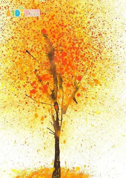 儿童秋天创意diy 4款吹画树的手工