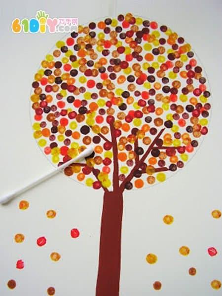 儿童棉签画手工 秋天的树林