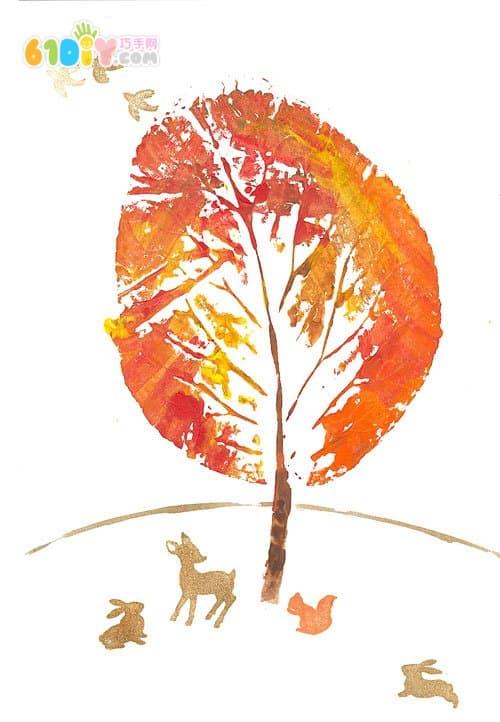 树叶印创意画 美丽的秋天_印章画_巧巧手幼儿手工网