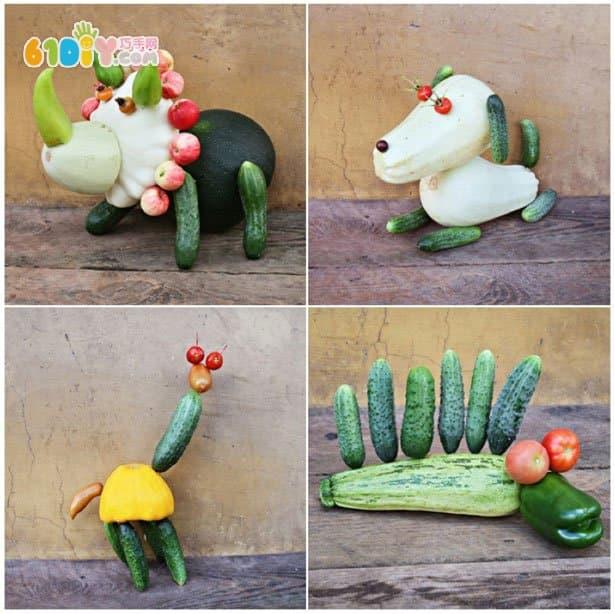 亲子制作可爱的蔬菜动物_综合其它_巧巧手幼儿手工网