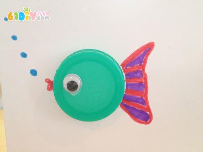 儿童手工制作瓶盖小鱼卡