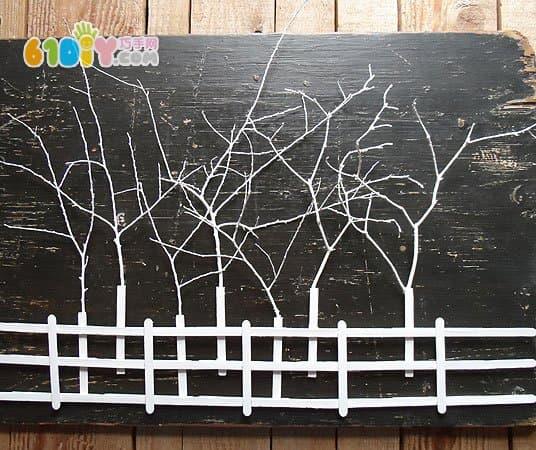 树枝雪糕棒diy制作漂亮的树林装饰画_雪糕棒手工_巧