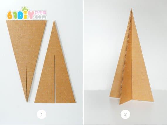 儿童手工制作废纸板圣诞树