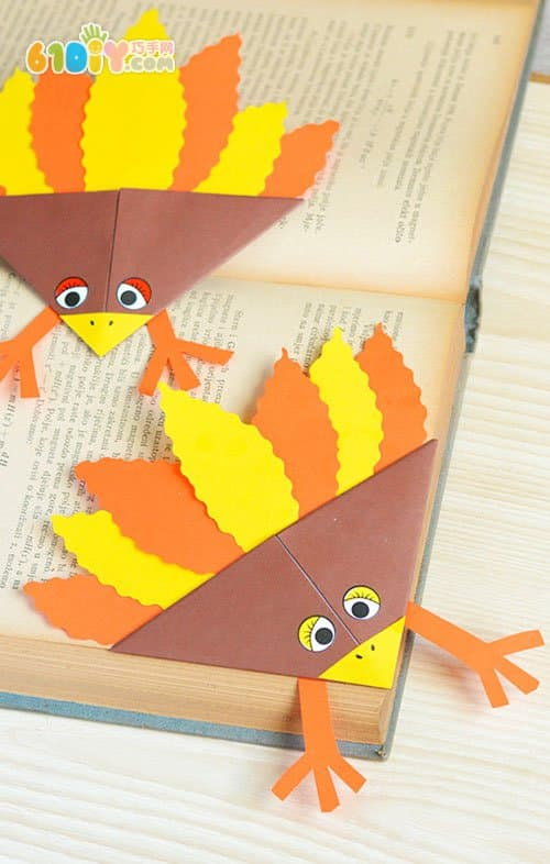 儿童手工制作感恩节火鸡书签_动物折纸_巧巧手幼儿