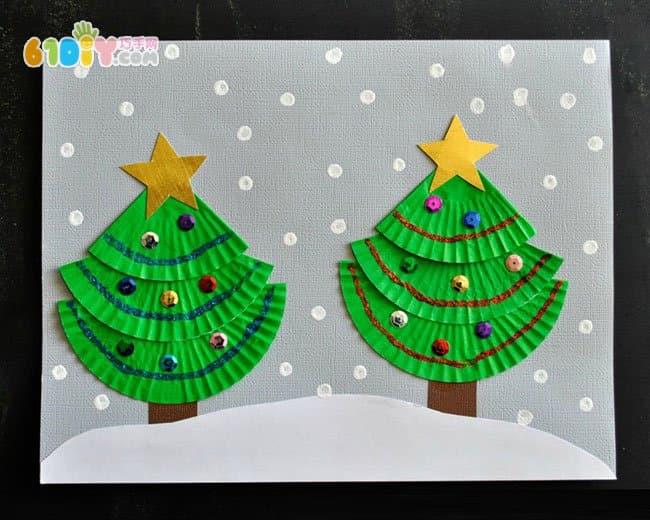 儿童手工diy蛋糕纸圣诞树贴画_巧巧手幼儿手工网