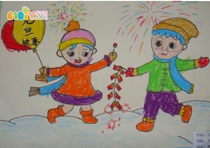 新年儿童画作品图片