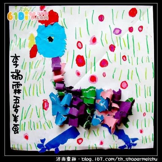 幼儿撕纸贴画:公鸡撕纸贴画