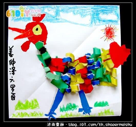 儿童手工 公鸡撕纸贴画