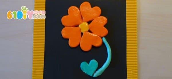 儿童diy盐面团花朵装饰画