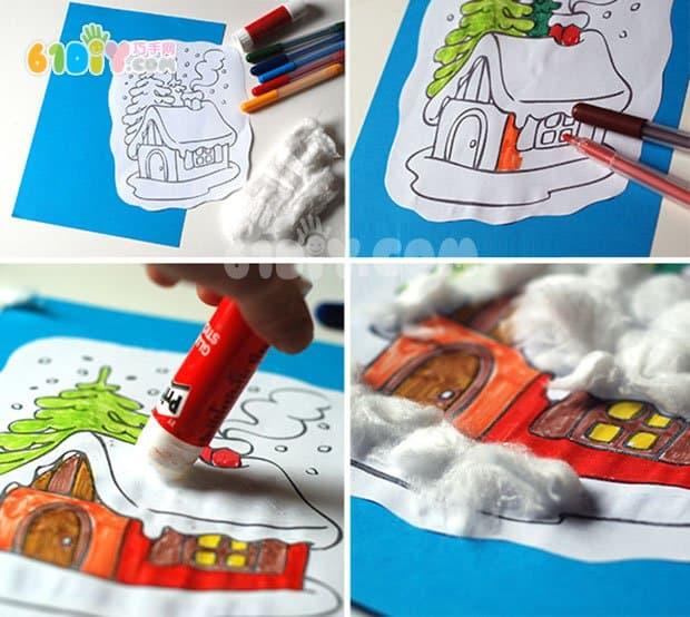 儿童贴画手工 下雪天的小房子