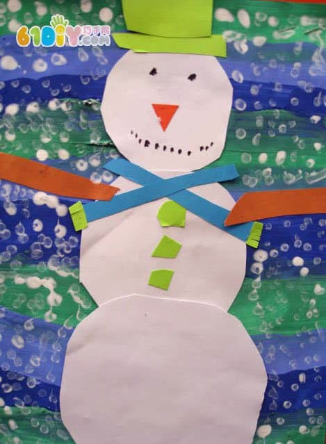 儿童雪人粘贴画作品