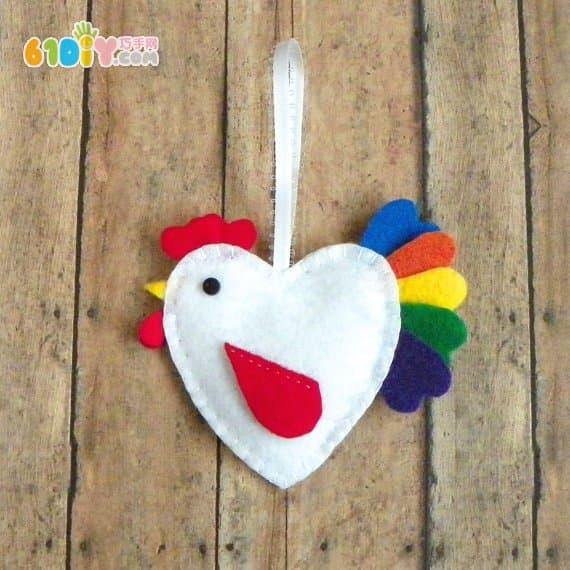 不织布手工制作漂亮的爱心鸡