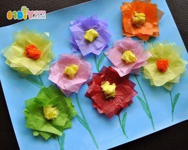 幼儿彩纸贴画手工:幼儿园妇女节手工制作立体花朵贴画