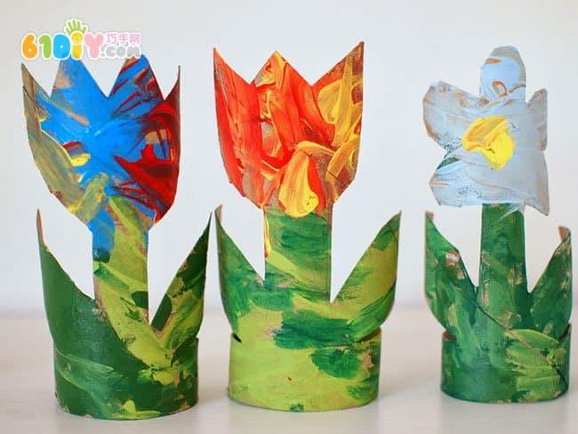 卷纸筒创意制作郁金香花和仙人掌_纸筒手工_巧巧手图片