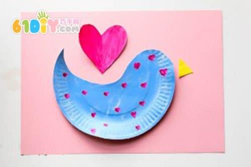 幼儿环保手工:纸盘手工制作可爱小鸟贴画