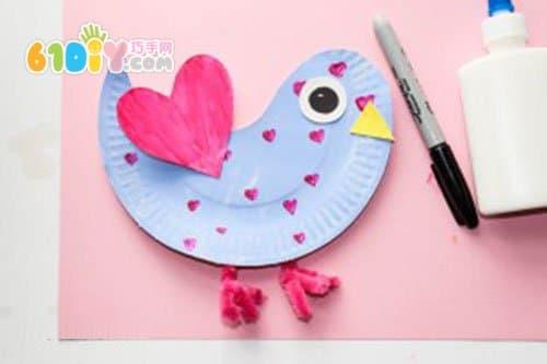 纸盘手工制作可爱小鸟贴画
