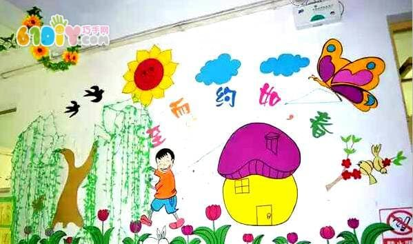 精美的幼儿园春天主题墙布置