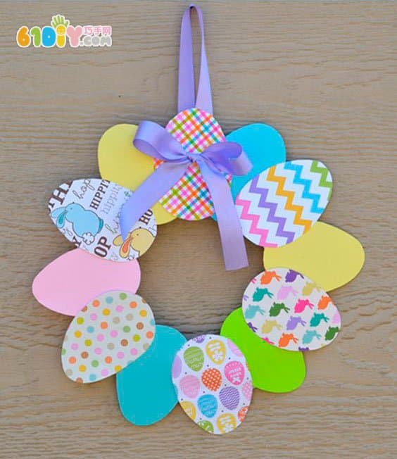 儿童手工制作漂亮复活节彩蛋花环