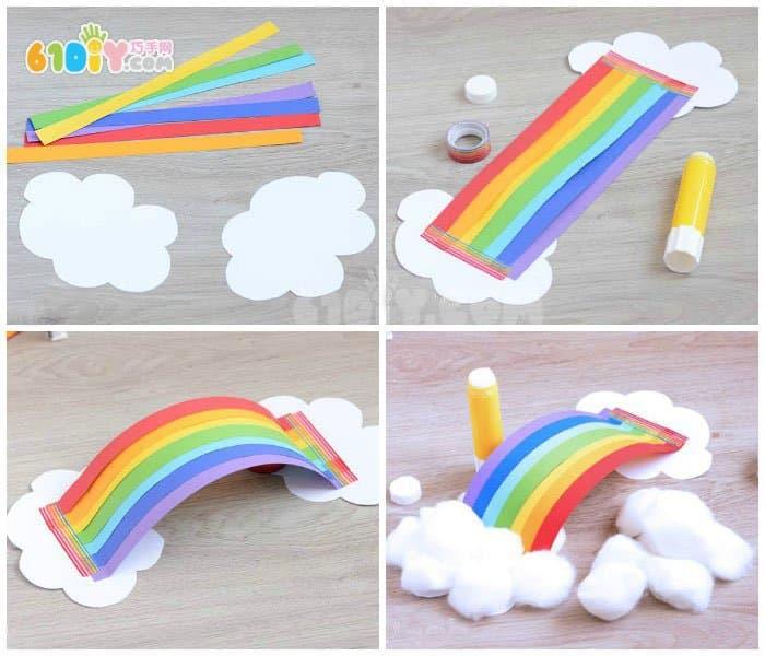 幼儿手工制作美丽的立体彩虹云