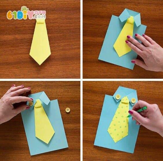 儿童手工制作父亲节衬衫卡_综合其它_巧巧手幼儿手工网