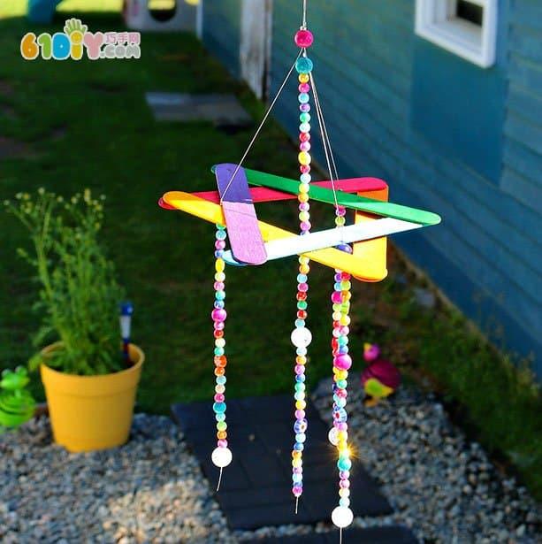 儿童手工制作串珠雪糕棒风铃