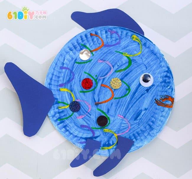纸盘手工制作彩虹鱼