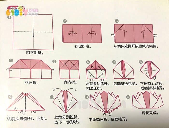 夏天亲子手工 漂亮的立体荷花折纸