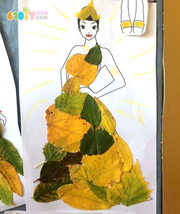 秋天树叶手工 潮流时尚女孩贴画