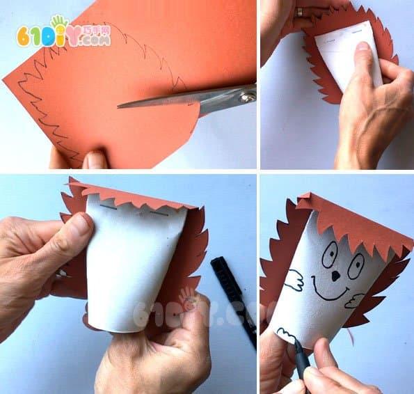 儿童利用卷纸筒diy制作超萌小刺猬