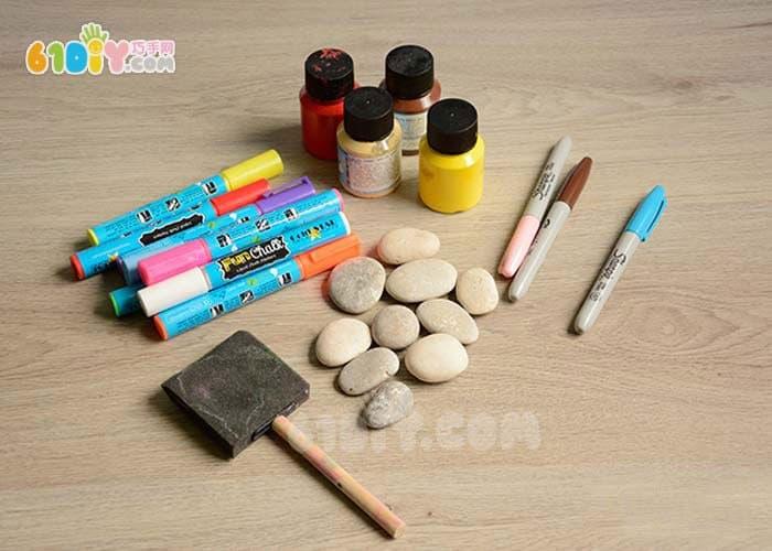 儿童石头手绘小瓢虫手工