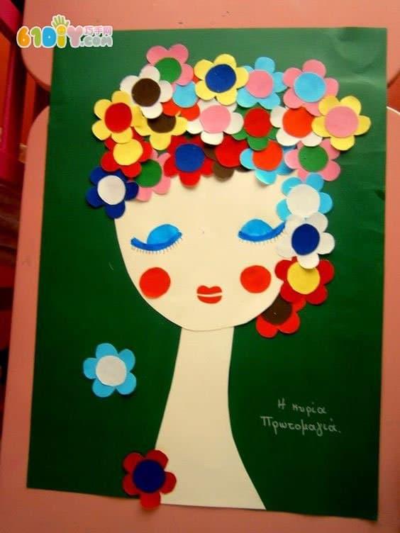 儿童手工制作 有趣的头发_精彩贴画_巧巧手幼儿手工网