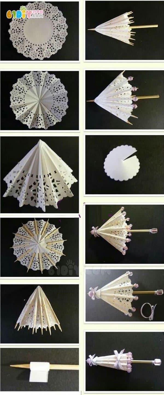 蛋糕纸diy 装饰小伞手工制作 综合其它 巧巧手幼儿手工网