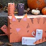 利用纸盒制作可爱的小猫一家