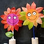儿童秋天手工 树叶花朵娃娃