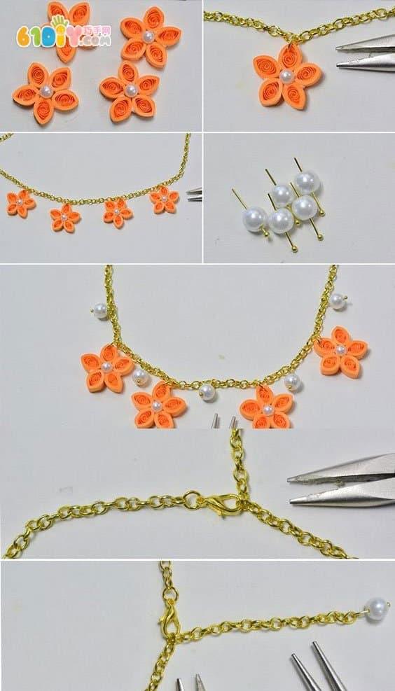 手工制作漂亮的衍纸花项链