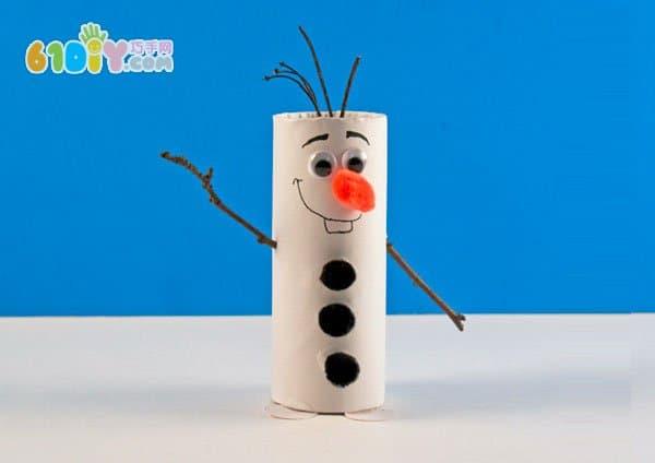儿童冬天手工 卷纸筒制作雪宝olaf