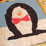 儿童手工制作企鹅撕纸贴画