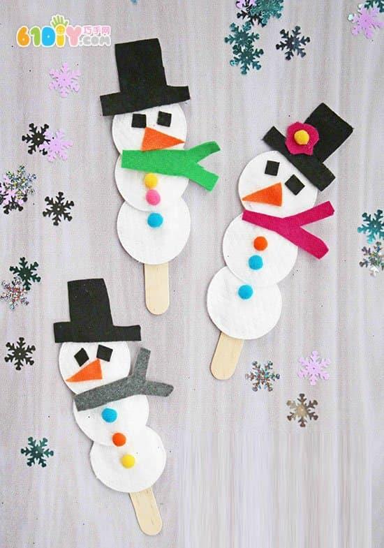 儿童手工制作冬天的雪人