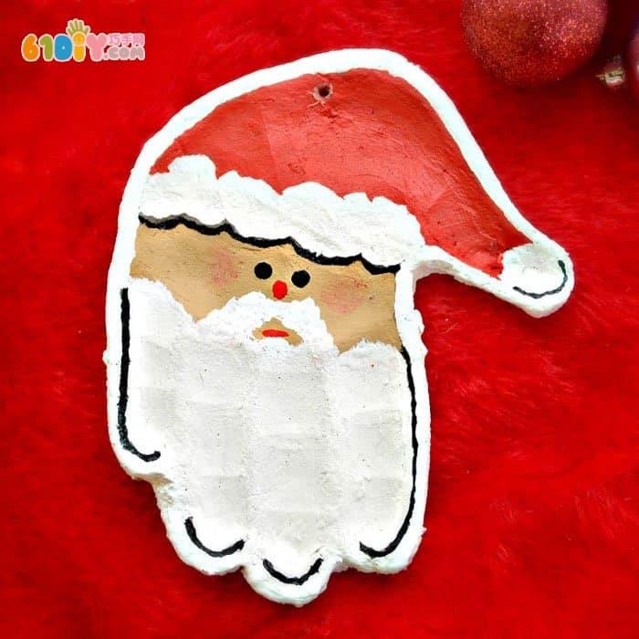 面团制作可爱的手印圣诞老人图片