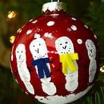 DIY简单可爱的手印雪人圣诞球