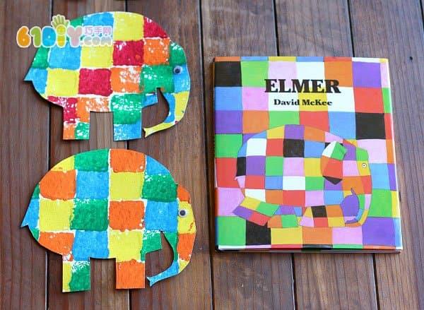 儿童制作 大象艾玛的手工_印章画_巧巧手幼儿手工网