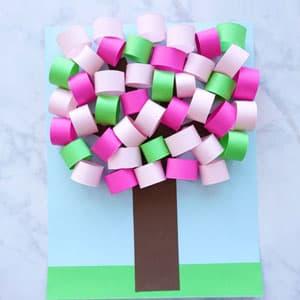 幼儿园立体贴画手工 春天的桃树