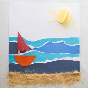 暑假手工 帆船大海撕贴画