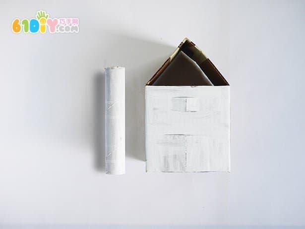 废纸板手工制作立体农场谷仓场景