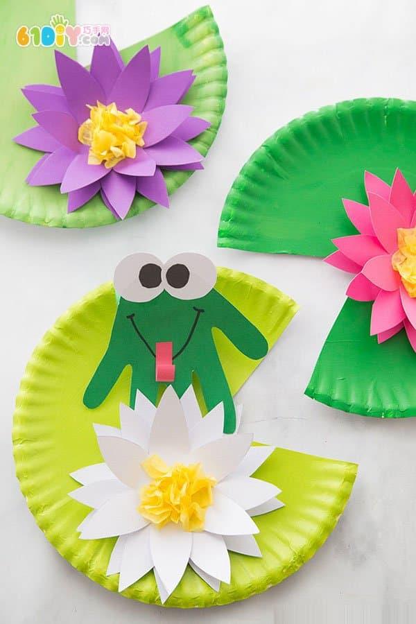 暑假手工 幼儿手工制作青蛙与荷花