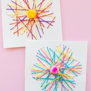 儿童手工制作几何图形穿线卡